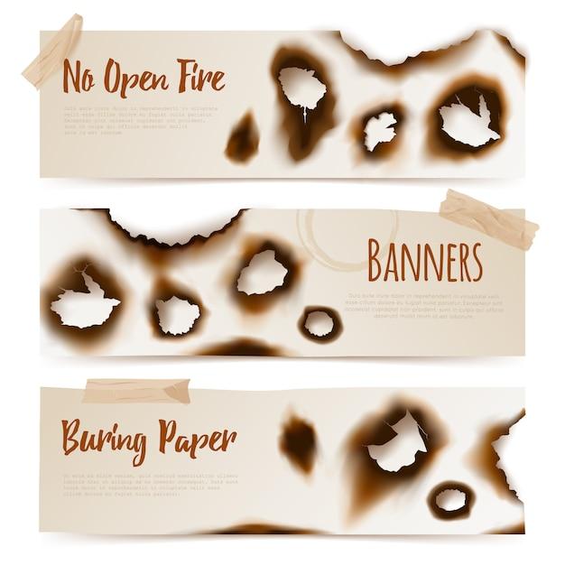 Bannières De Trous De Papier Brûlés Vecteur gratuit