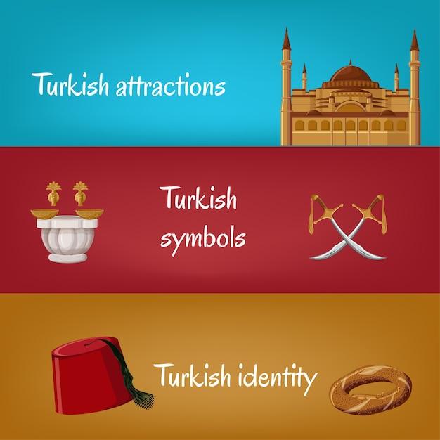 Bannières turques avec fez, simit, épées, hammam, hagia sophia. Vecteur Premium