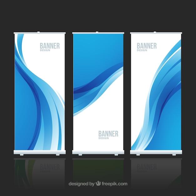 Bannières avec vague bleue Vecteur gratuit