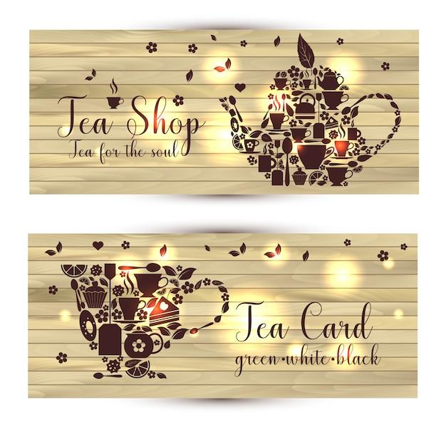 Bannières de vecteur de thé sur fond en bois Vecteur Premium