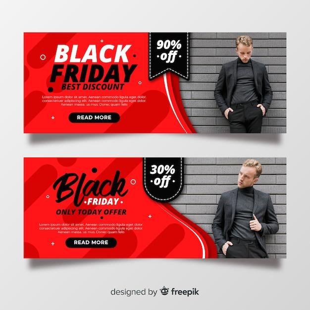 Bannières de vendredi design plat noir avec photo Vecteur gratuit