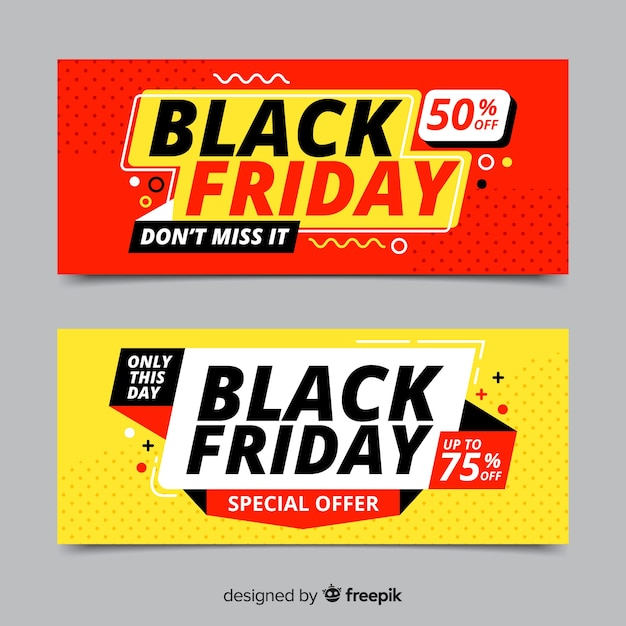 Bannières de vendredi noir au design plat Vecteur gratuit