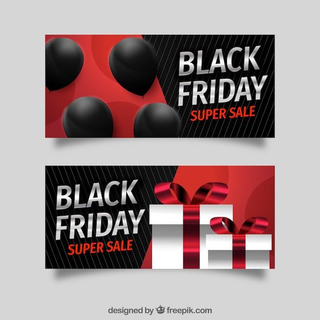 Bannières De Vendredi Noir Avec Des Ballons Et Des Coffrets Cadeaux Vecteur gratuit