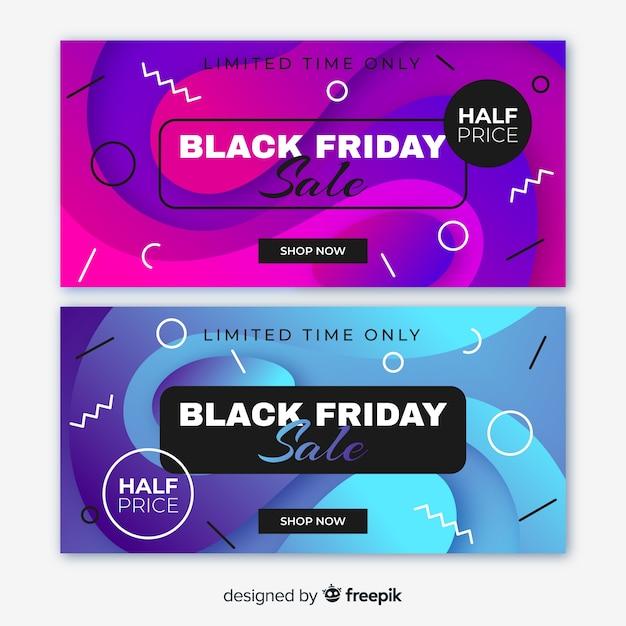 Bannières de vendredi noir dégradé et style memphis Vecteur gratuit