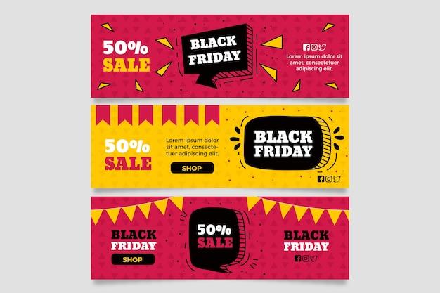 Bannières de vendredi noir dessinés à la main Vecteur gratuit