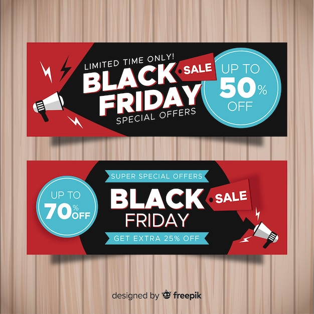 Bannières de vendredi noir moderne au design plat Vecteur gratuit