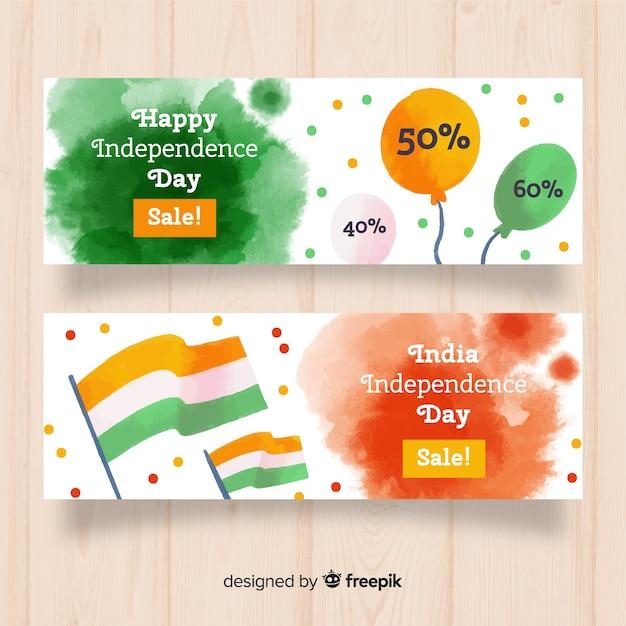 Bannières de vente d'aquarelle inde fête de l'indépendance Vecteur gratuit