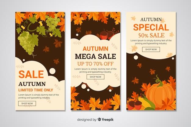 Bannières de vente d'automne design plat Vecteur gratuit
