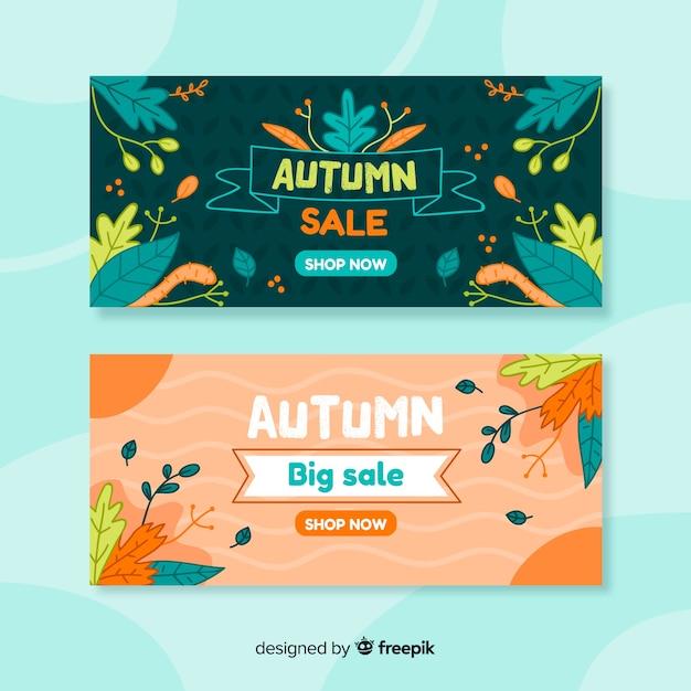 Bannières de vente automne dessinés à la main Vecteur gratuit