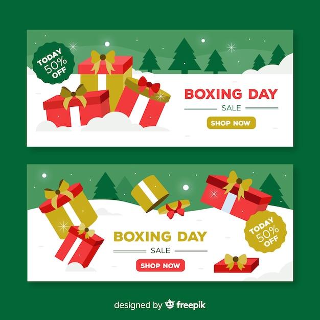 Bannières de vente boxing day Vecteur gratuit