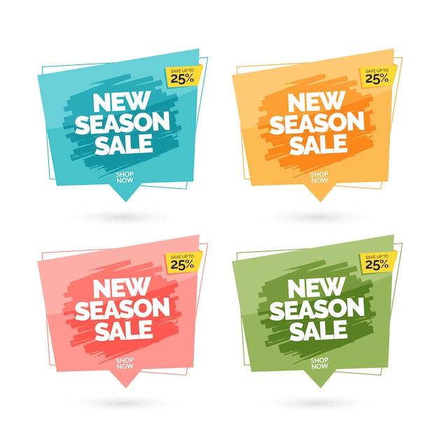 Bannières de vente colorées modernes Vecteur Premium