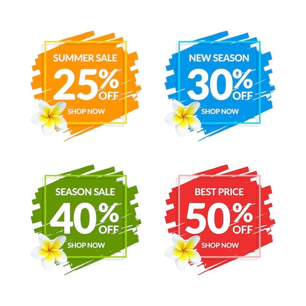 Bannières de vente colorées Vecteur Premium