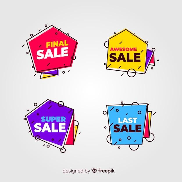 Bannières de vente dans le style memphis Vecteur gratuit