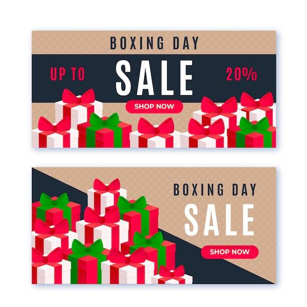 Bannières de vente design plat boxing day Vecteur gratuit
