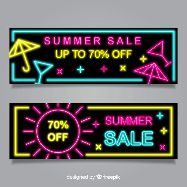 Bannières de vente d'été néon Vecteur gratuit