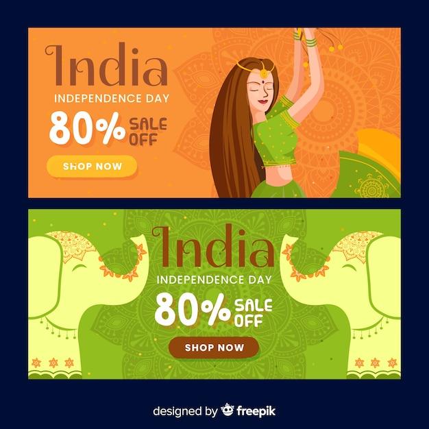 Bannières de vente de fête de l'indépendance de l'inde Vecteur gratuit
