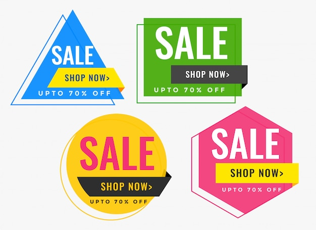 Bannières de vente de forme géométrique dans de nombreuses couleurs Vecteur gratuit