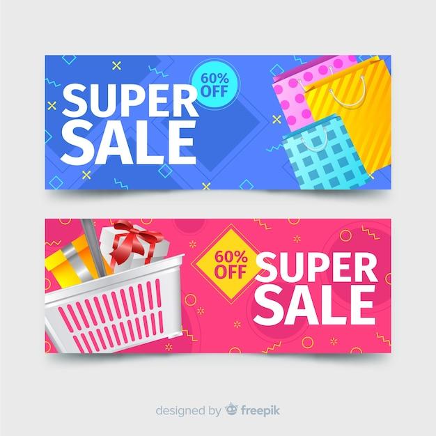 Bannières de vente géométriques abstraites avec des éléments réalistes Vecteur gratuit