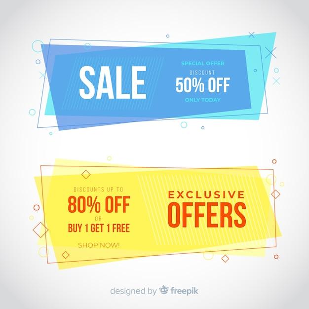Bannières de vente géométriques Vecteur gratuit