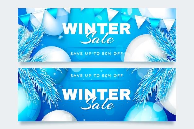 Bannières De Vente D'hiver Dans Un Style Réaliste Vecteur gratuit