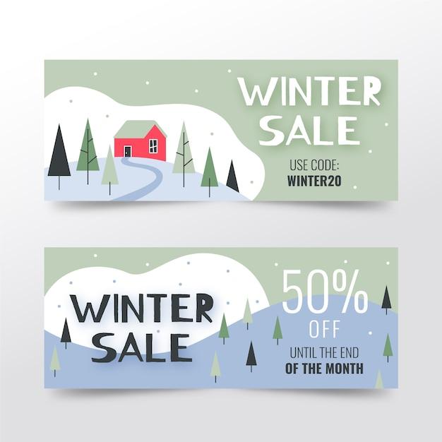 Bannières de vente d'hiver dessinés à la main avec des offres spéciales Vecteur gratuit