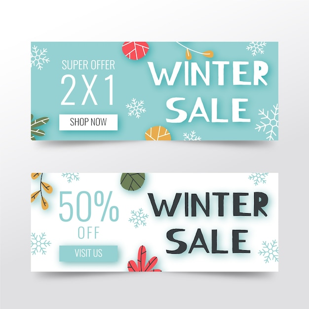 Bannières de vente d'hiver dessinés à la main Vecteur gratuit