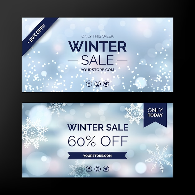 Bannières de vente d'hiver floue avec des flocons de neige Vecteur gratuit