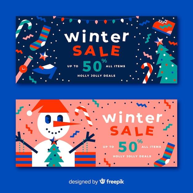 Bannières de vente d'hiver plat Vecteur gratuit