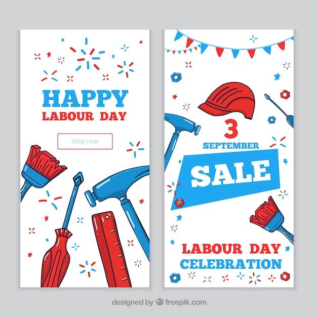 Bannières de vente de jour de travail avec des outils Vecteur gratuit