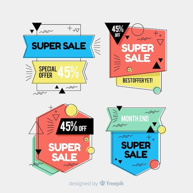 Bannières de vente de memphis Vecteur gratuit