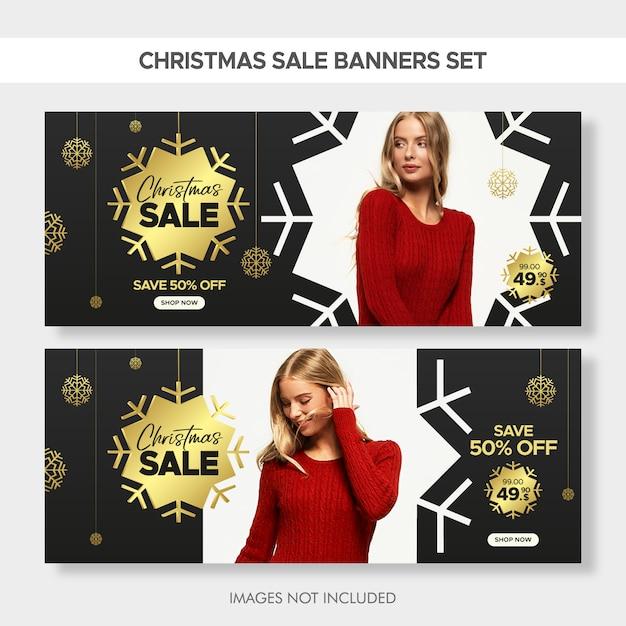 Bannières de vente de mode de noël pour le web Vecteur Premium