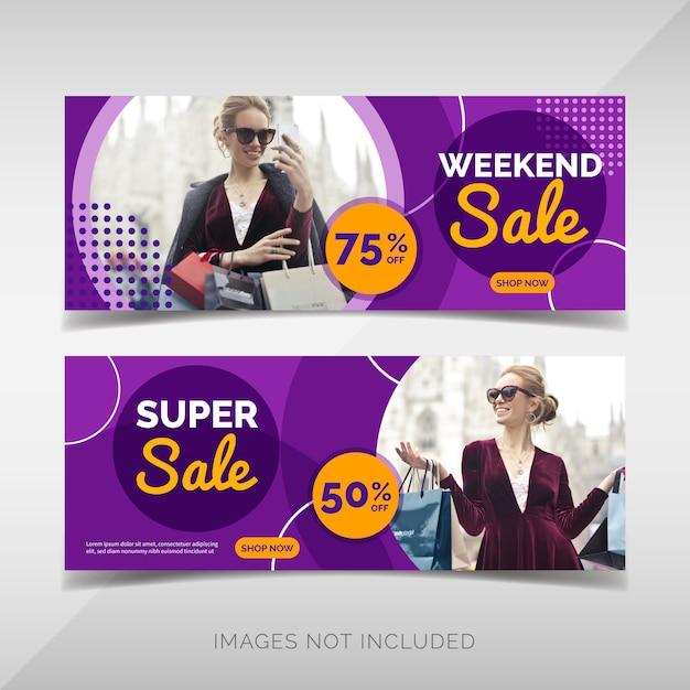 Bannières de vente de mode Vecteur Premium