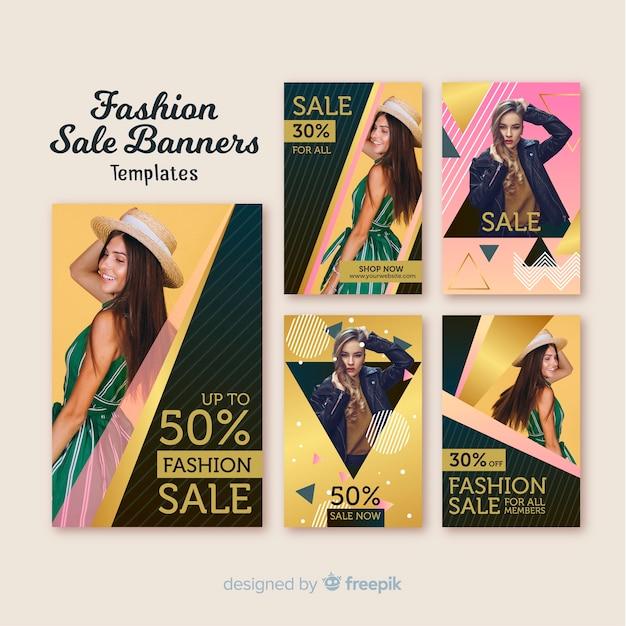 Bannières de vente de mode Vecteur gratuit