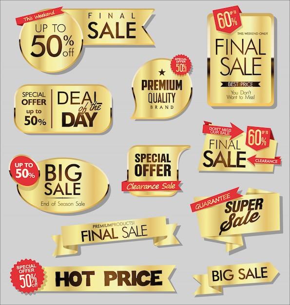 Bannières de vente d'or Vecteur Premium