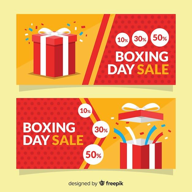 Bannières de vente plat boxing day Vecteur gratuit