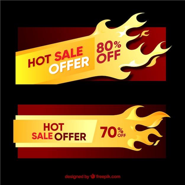 Bannières de vente plate avec des flammes Vecteur gratuit