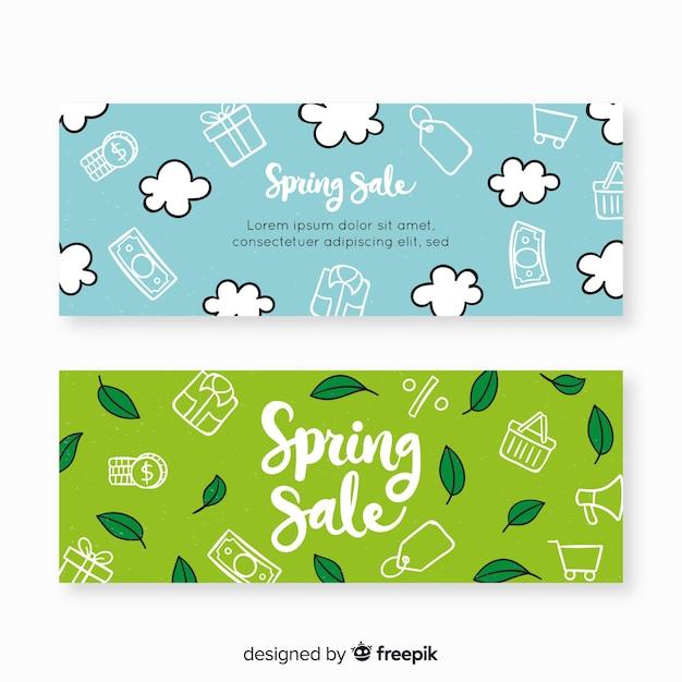 Bannières de vente de printemps dessinés à la main Vecteur gratuit