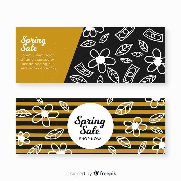 Bannières de vente de printemps noir et or Vecteur gratuit