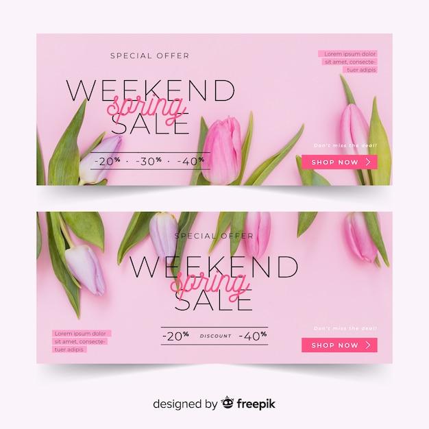 Bannières de vente de printemps avec photo Vecteur gratuit