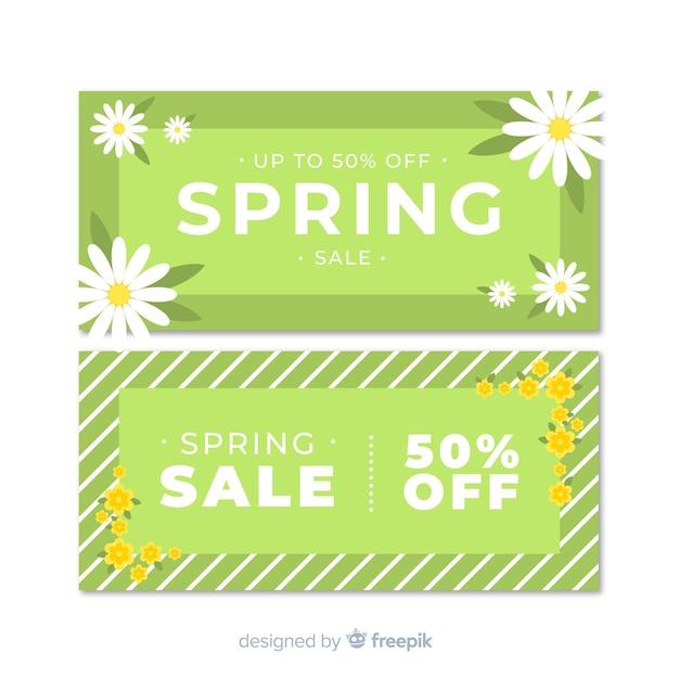 Bannières de vente de printemps plat Vecteur gratuit