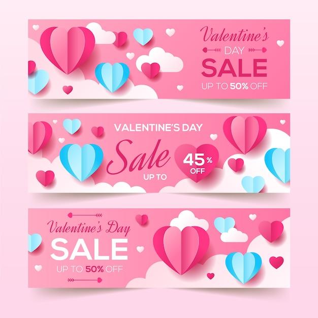 Bannières de vente saint valentin au design plat Vecteur gratuit
