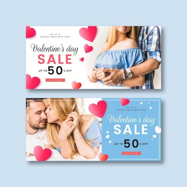 Bannières De Vente De La Saint-valentin Avec Photo Vecteur Premium