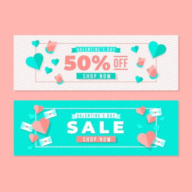 Bannières de vente de style plat valentine Vecteur gratuit