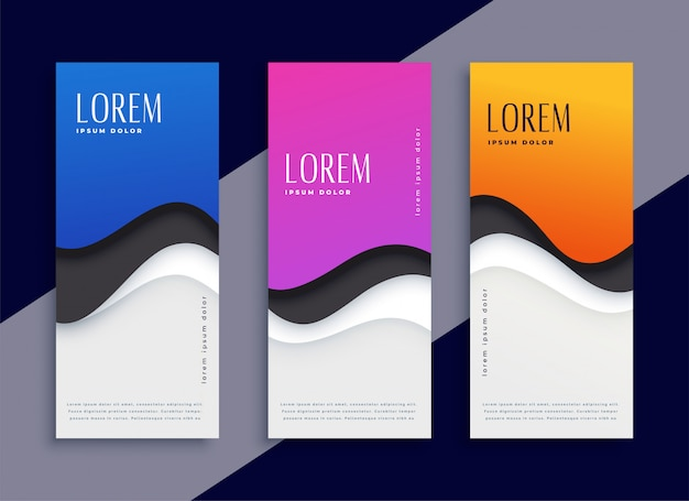 Bannières verticales abstraites de couleur différente vague moderne Vecteur gratuit