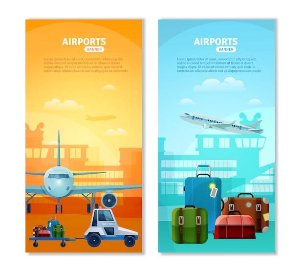 Bannières verticales d'aéroport Vecteur gratuit