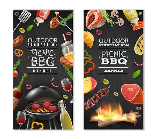 Bannières Verticales Barbecue Pique-nique Vecteur gratuit
