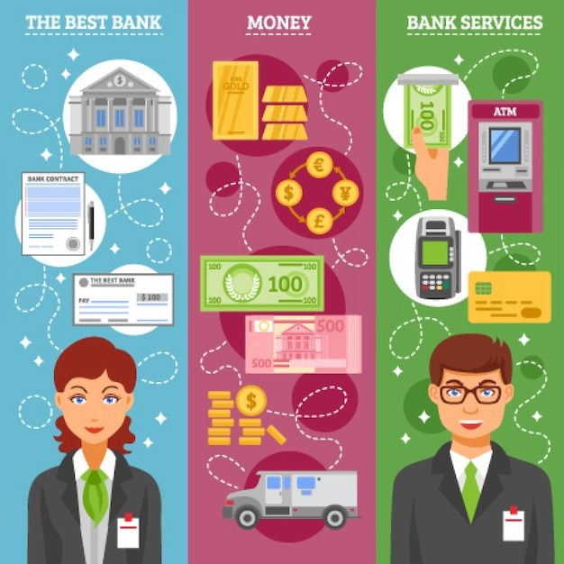Bannières verticales des employés de banque Vecteur gratuit