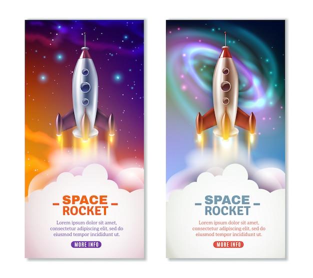 Bannières verticales de fusée spatiale Vecteur gratuit