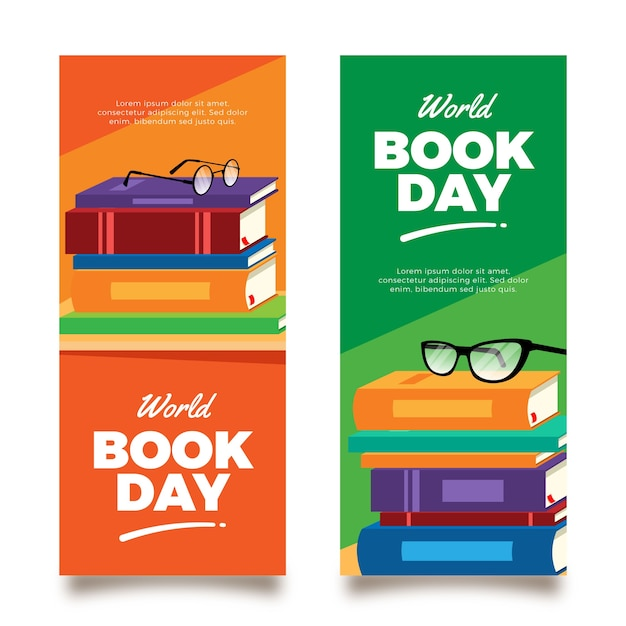 Bannières Verticales De La Journée Mondiale Du Livre Vecteur gratuit