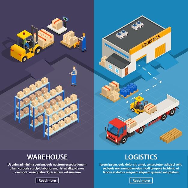 Bannières verticales de logistique et d'entrepôt Vecteur gratuit